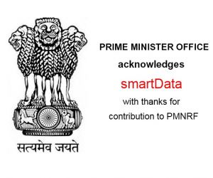 Disaster Relief- We are happy to have contributed to Prime Minister's National Relief fund at the time of Kashmir disaster in 2014 to bring relief to the distressed.The contribution made by smarTians has been acknowledged by Prime Minister's office, New Delhi, formally with a receipt sent by Govt. of India to each individual
